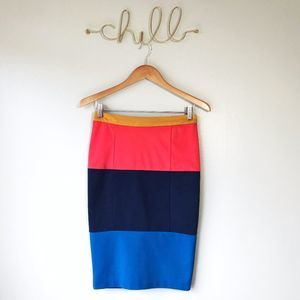 C. Luce Color Block Pencil Skirt